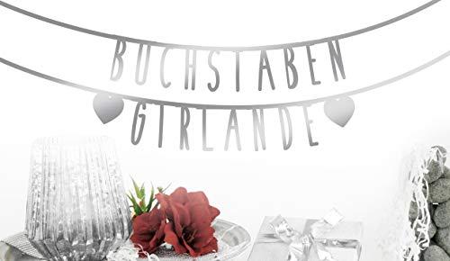 MIK Funshopping Individualisierbare Buchstaben-Girlande für Geburtstag Hochzeit Feier Party Junggesellenabschied aus Papier (Silber - 105 Zeichen)