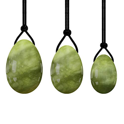 Huevos de jadeJuego de Huevos Yoni de Piedra Verde Huevos de Jade Natural Mujeres Ejercitador de Kegel-Taladro Huevo-Cuerda Negra