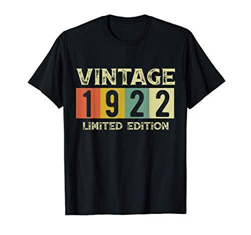 Vintage 1922 Regalo di Compleanno 99 Anni Uomo Donna Shirt Maglietta