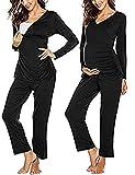 MAXMODA Damen Stillpyjama Baumwolle Umstands-Schlafanzug UmstandsPyjama Zweiteiliger Nachtwäsche Schwarz XXL