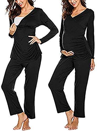 MAXMODA Damen Stillpyjama Baumwolle Umstands-Schlafanzug UmstandsPyjama Zweiteiliger Nachtwäsche Schwarz XL