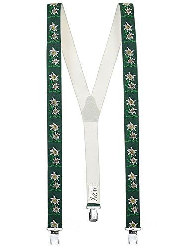 Xeira - Bretelles de haute qualité pour Femmes/Homme avec 3 Extra fort clips dans 15 Couleurs avec XL CLIP (Edelweiss Vert, 125cm)