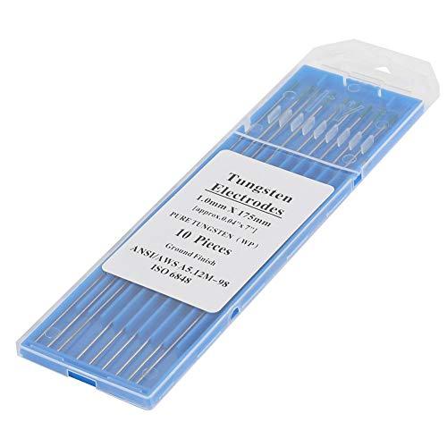 Naroote ������ ���������】 Electrodo de tungsteno Puro, 10 Piezas Electrodos de tungsteno Puro WP Punta Verde 1.0/1.6/2.0/2.4/3.2 mm para Soldadura TIG de CA(1.0mm * 175mm)