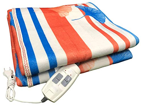 HIDEN™ Electric Heating Blanket for Double Bed Warmer Shock Proof with Temperature Controller (185x155 cm Random Color)