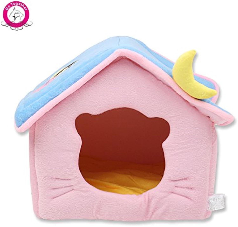 WeMore (TM) Cute Moon Pet Dog House Soft Fleece Winter Warm Small Dog Nest Beds Folding Portable  hua Puppy Kennty el