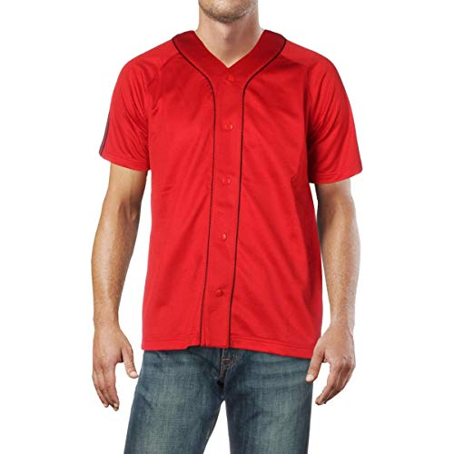 adidas Mens Logo Button Up Jersey Red S