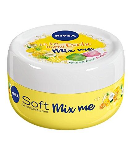 Crema hidratante Nivea Soft Mix Me Happy Exotic, 8envases de 100ml, crema para la piel con sabor a fruta, para mezclar con Berry Charming y Chilled Oasis