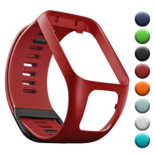 YHC Cinturino in Silicone per Tomtom Runner 3 2 Spark 3 Golfer 2 Braccialetto Compatibile con Tom Tom Adventurer (05-Rosso)