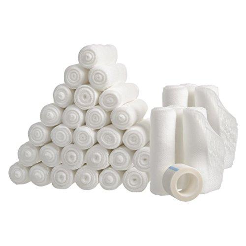 Gauze Bandage Rolls with Tape 36-Pack, Stretch Bandage Roll, 4 x 4 Yards Stretched, Breathable White Gauze Bandages, Bulk Gauze Rolls for Home, Gym & Office Use, Absorbent Bandage Rolls