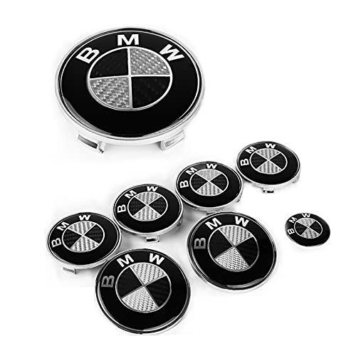7PCS Fit for BMW Emblem Carbon Fiber Black,Fit for BMW Wheel Center Caps,Trunk and Hood Emblem Center Caps,82mm+74mm Emblem Trunk,Steering Wheel Emblem Decal Fit for BMW Emblem Logo Replacement