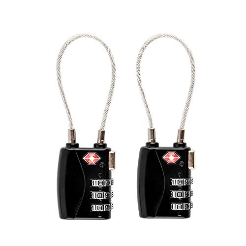 Premium 2 Pack TSA Lock, TSA Approved Luggage Locks, Suitcase Lock Number Lock with 3-Digit Number Code for Luggage Backpack School or Gym Cabinet, etc. (Black)