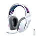 Logitech G733 Lightspeed Wireless Gaming Headset with Suspension Headband, LIGHTSYNC RGB, Blue VO!CE mic Technology and PRO-G Audio Drivers - White (Renewed)
