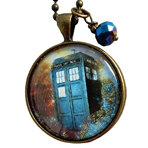 Collar Tardis, joyería Doctor Who, collar Doctor Who, joyería Tardis, caja de policía azul