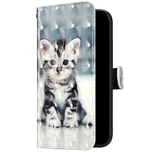 Uposao Kompatibel mit Huawei Honor 7C Hülle Leder Handyhülle Glänzend Glitzer Bling Bunt Muster Wallet Hülle Klapphülle Brieftasche Schutzhülle Flip Case Magnet Kartenfach,Cute Katze