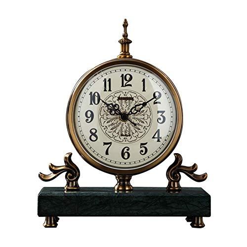 Reloj De Sobremesa De Mármol, Números Árabes, Esfera, Movimiento Silencioso, Relojes De Chimenea para Sala De Estar, Cocina, Oficina, Decoración del Hogar, Relojes De Mesa (Color: Blanco)