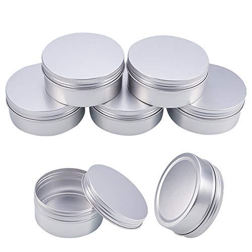 BENECREAT 5 Stücke 250 ml Aluminium Zinn Gläser, Runde Aluminium Blechdosen Kosmetische Behälter mit Schraubdeckel Deckel für DIY Handwerk Salve Kerze Reise Lagerung-Platin