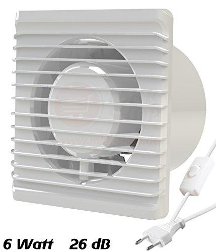 Badventilator Ø 100 mm in weiß MKK-PLANET mit Netzstecker und Kippschalter Lüfter Ventilator Front Wandlüfter Badlüfter Ventilator Einbaulüfter Bad Küche leise 10 cm
