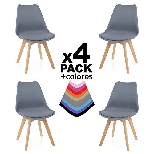 duehome - Beench - Pack 4 sillas Tower Madera Haya, sillas de Comedor Estilo nordico, Medidas: 49 cm (Ancho) x 83 cm (Alto) x 53,5 cm (Fondo) (Gris)