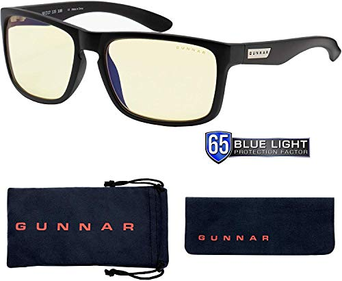 Gaming Glasses | Blue Light Blocking Glasses | Intercept/Onyx by Gunnar | 65% Blue Light Protection, 100% UV Light, Anti-Reflective To Protect & Reduce Eye Strain & Dryness