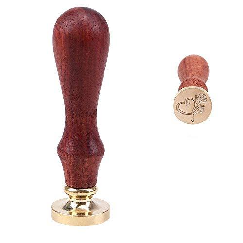 Wachssiegel-Stempel, von Goodchanceuk, aus Messing, mit Holzgriff, 2,5 cm Durchmesser Heart&rose