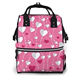 Jojoshop - Mochila para pañales, diseño del día de San Valentín con corazones, gran capacidad, impermeable y elegante