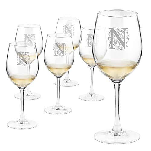 Murrano Weinglas mit Gravur - 6er Weingläser Set - 350 ml - personalisiert - Rotweingläser Weißweingläser - Geschenk Geburtstagsgeschenk für Frauen - Buchstabe