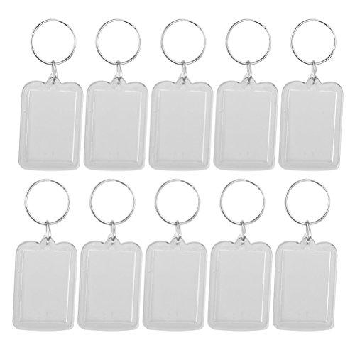 ULTNICE Transparent Schlüsselanhänger Foto Bilder aus Acryl leer Schlüsselring 5 x 3.3cm 10pcs