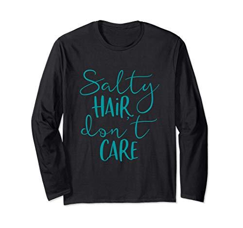 Salty Hair Don't Care - Cute Beach Summer Vacation Saying Manga Larga