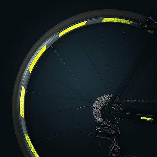 reflecto Neon Reflektoren-Aufkleber für Fahrradfelgen in gelb oder orange – 24 Streifen im Set – optimal für 27,5″ 28″ und 29″ Felgen – hochwertige Sticker aus Qualitäts-Reflexfolie (fluor-Lime)