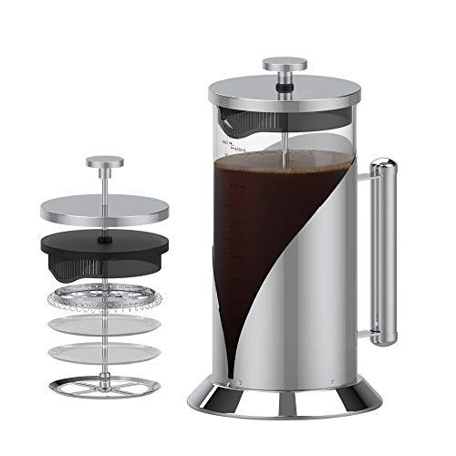 Caffettiere a Pistone 1L French Press Caraffa in Vetro Borosilicato Resistente al Calore con Esca,Pressa per Caffè in Acciaio Inossidabile con Struttura di Filtrazione a 4 Stadi