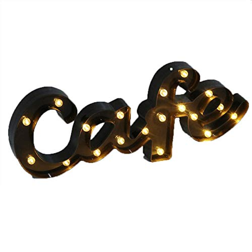 CHANGRAN Coffee Light led - LED Coffee Sign Light LED Light Up Sign,Marquee Light Word Lamp with Warm White LEDs,Battery Operated Lettering Lamp