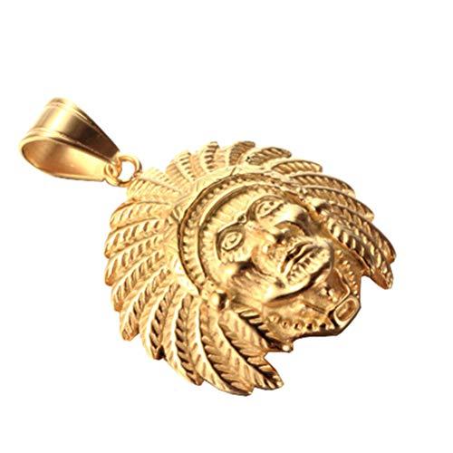 OAKKY Hip Hop Tribal Nativo Americano Indios Jefes Cráneo Cabeza Colgante Collares Hombre Acero Inoxidable Tocado de Plumases Oro con Cadena