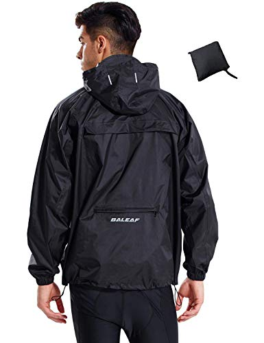 BALEAF Men's Rain Jacket Waterproof with Hooded Lightweight Packable Cycling Pullover Recreation Raincoat Poncho Windbreaker Black Size L