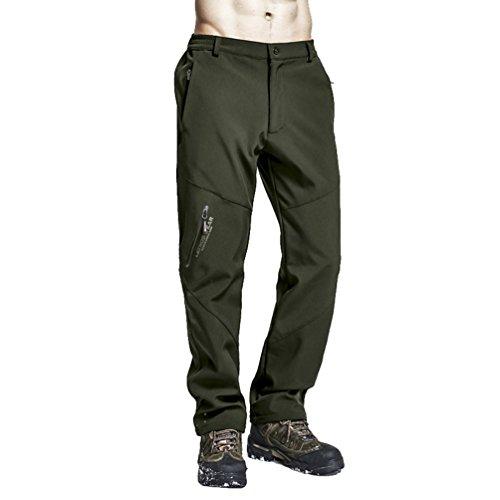 Zhiyuanan Hombre Pantalones De Invierno Softshell De Forro Polar De Cálido Outdoor Impermeable Montaña Trekking Pantalon De Esquí De Nieve con Cintura Elástica Casual Ropa Senderismo Ejército Oscuro