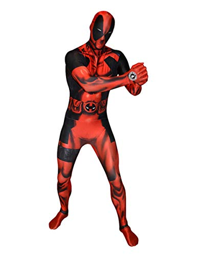 Marvel, Digital Morphsuit, costume da Deadpool, prodotto con licenza, colore: rosso/nero
