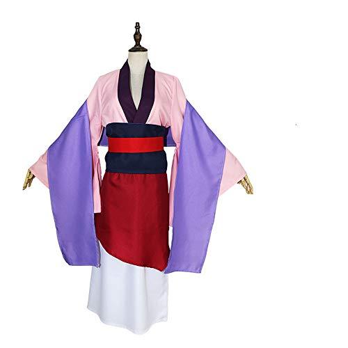 QZ Hua Mulan Vestido Vestido Rosa Princesa Vestido Película Cosplay Disfraz de Disfraces de Halloween por Encargo,M