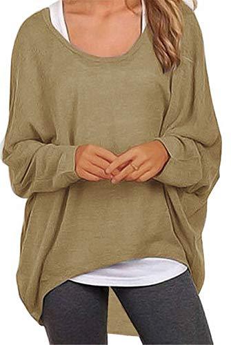 Meyison Damen Lose Asymmetrisch Sweatshirt Pullover Bluse Oberteile Oversized Tops T-Shirt Braun L