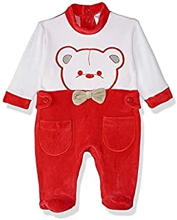 Papillon Velvet Embroidered Bear Long-Sleeve Snap-Closure Kids Jumpsuits - Red and White