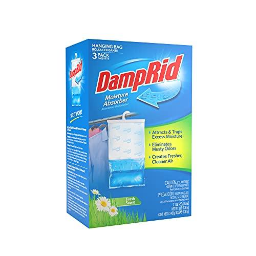 DampRid Hanging Bag, Moisture Absorber, Pack of 3 (16 oz. ea.), 3 Pack, Blue