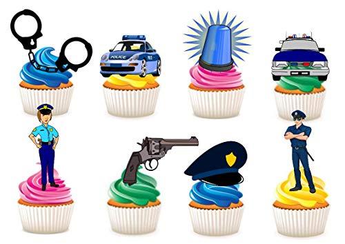 34x Kuchen-, Backwarendekoration aus Esspapier mit Motiv Polizei