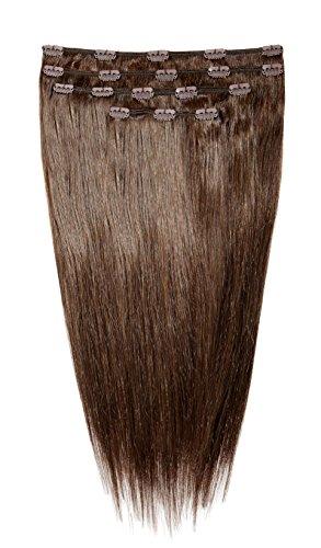 American Dream Lot Tête Complète de Luxueuses Extensions Clip In 100 % Cheveux Humains Couleur K633 Rouge Chocolat