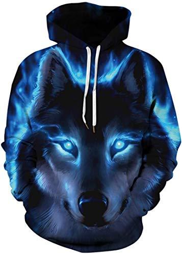 Men's Sweatshirt Sportswear Long Sleeve Jumper 3D Print Hoodies Animal Wolves Spider Helling Wolf L-XL