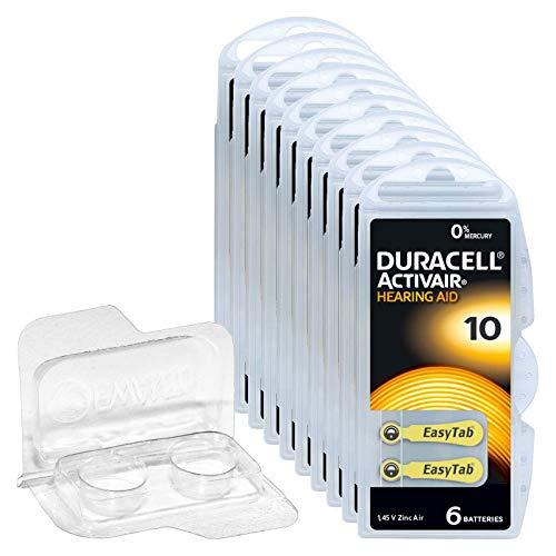60x Duracell Activair 10 Hörgerätebatterien, 10x6er Blister PR70 Gelb 24610 Hearing Aid + Aufbewahrungsbox für 2 Batterien (10, 13, 312, 675) transparente Batteriebox, Knopfzellen < Ø 12 mm x H 6 mm