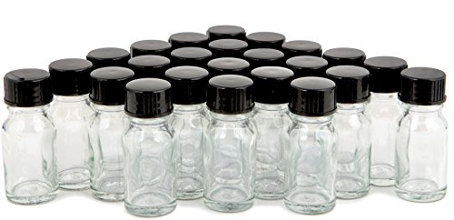 Vivaplex, 24, Clear, 10 ml (1/3 oz) Glass Bottles, with Lids