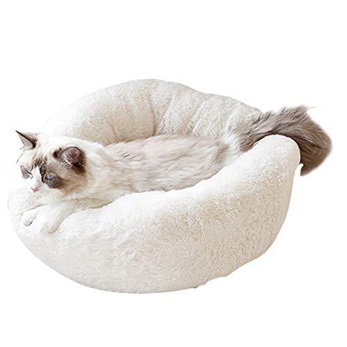 BVAGSS Weich Warm Langes Plüsch Haustier Bett Rund Sofa für Katzen Hund XH029 (S, White)
