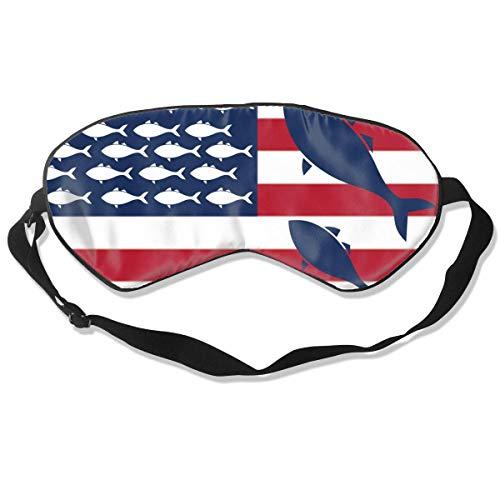 Premium Super Soft Breathable Eye Mask with Adjustable Strap - USA Flag Fish - Light Blocking Sleep Mask for Travel, Nap, Yoga, Meditation