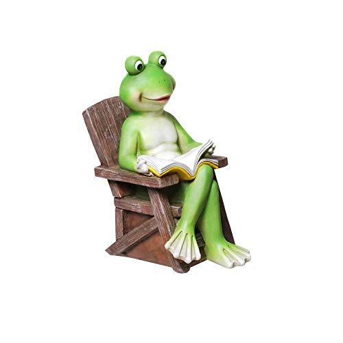 Frosch auf Gartenstuhl und liest Buch 20 cm groß Froschfigur Dekofrosch Froschdeko Skulptur Frosch Gartenfigur Gartendeko Gartenteichfigur