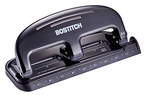 Bostitch EZ Squeeze 20 Sheet 3 Hole Punch, Metal Construction, Silver/Black (HP20)