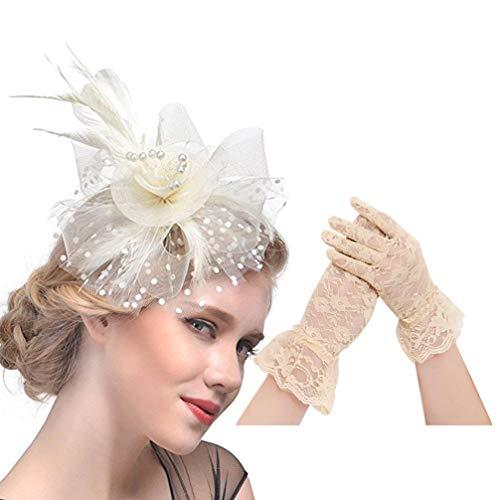 KRUIHAN Frauen Fascinator und Handschuhe Set - Damentag Hut Federn Stirnband Hochzeit Cocktail Blumen Haarspange C