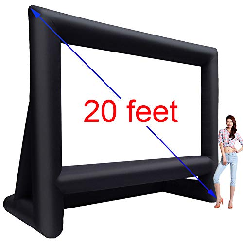 20 Feet Inflatable Outdoor Movie Projector Screen,Blow Projector Screen Projection Screen for Outdoor Backyard - Includes Big Power Fan, Base Stakes,Tie-Downs and Storage Bag (20feet)